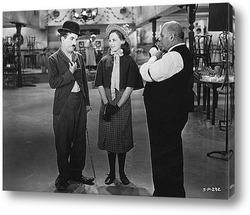 """Постер Чарли Чаплин и Палетта Годар в фильме\""""Новые времена\"""",1936г."""