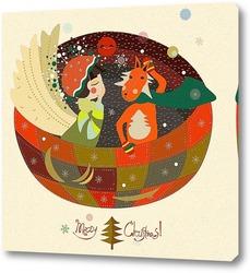 Постер Рождественский спящий ангел