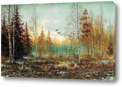 Зимний пейзаж с волками