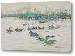 Картина Движение судов в порту Астрахани