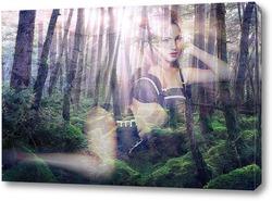 Картина Девушка на фоне леса
