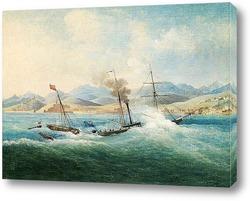 Закат над морем с парусными лодками