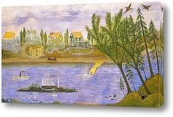 Картина Деревня на берегу реки