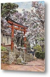 Постер Сакура,храм Ёсино, Япония
