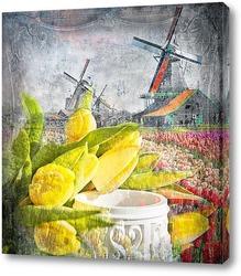 Картина Тюльпаны и мельницы