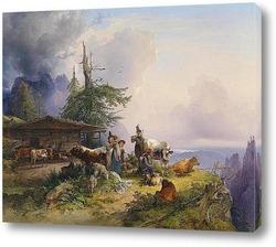 Высокая каменная гора около Берхтесгадена