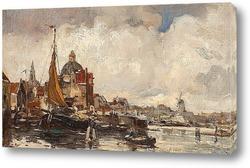 Картина Вид на Кепелькерк вдоль реки Зингель, Амстердам