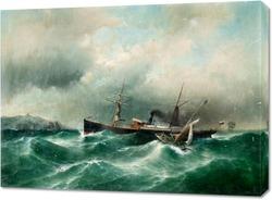 Постер Корабль в бушующем море