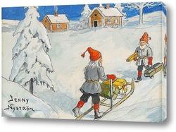 Постер Рождественские гномы.