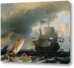 Картина Голландские корабли в шторм близ Амстердама