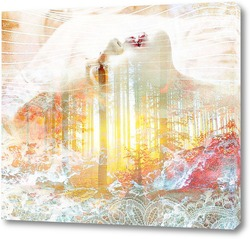 Картина Девушка и лесной закат
