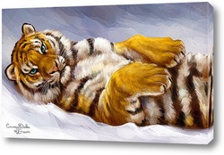 Картина Зимние радости. тигр