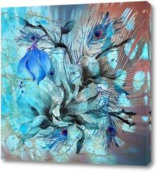 Постер Голубые акварельные цветы