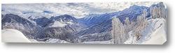 """Панорамный вид на горнолыжный курорт """"Лаура"""" ПАО Газпром. Красная поляна."""