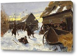 Военное сражение в снежной деревне