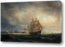Бурное море с аварией судна