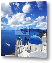 Постер Santorini with Traditional Church in Oia, Greece