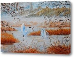 Картина Цапли в тумане