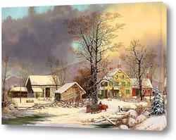Зимняя ферма с санями, 1863-1866