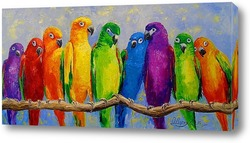 Картина Стая попугаев