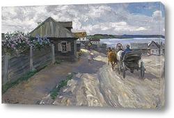 Картина Деревня на берегу