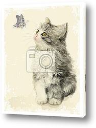 Открытка,котёнок и бабочка