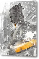 Постер Желтое такси в Нью-Йорке