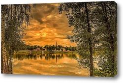 Постер Вид на реку через деревья