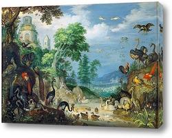 Горный пейзаж с лесорубами