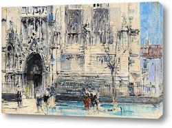 Картина Силуэты у большой церкви или собора