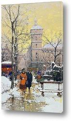 Картина Площадь Шатле под снегом и консьерж