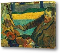 Постер Портрет Винсента Ван Гога,рисующего подсолнухи. 1888