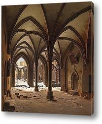 Картина Руины монастыря зимой