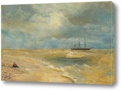 Картина Морской пейзаж с парусником. 1899