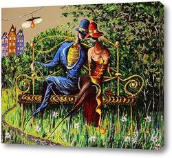 Картина Любовь и скамейка