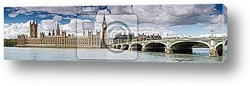 London panoramic ,including Big Ben and Houses of Parliament.
