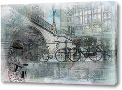 Постер Мост с велосипедами