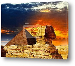 Постер Great Sphinx and the Pyramids at sunset