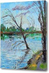 Картина Одинокое дерево на реке