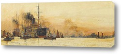 """Канадской Тихоокеанской лайнер """"Императрица Австралии"""" в гавани"""