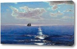 Постер Вид на море и парусник при лунном свете