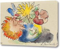 Картина Цветы в плоской вазе