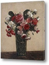 Розы и настурции в вазе