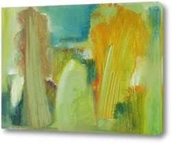 Картина наивный пейзаж со стогом на поляне