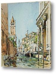 Узкий канал в Венеции, Италия