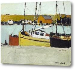 Постер Рыбацкая лодка на пристони