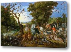 Постер Ной собирает животных для ковчега (1613)