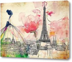 Постер Красочный Париж