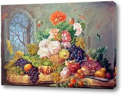 Картина цветы в вазе и фрукты