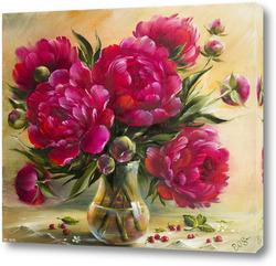 Картина Бордовые пионы в вазе